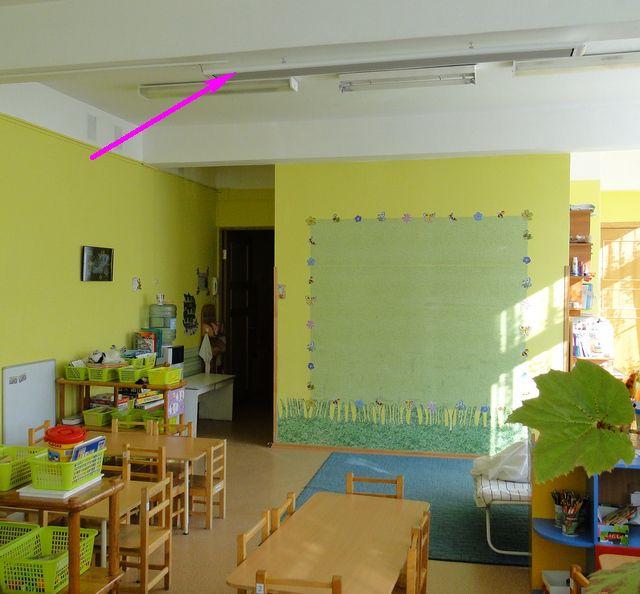 Обогреватель над игровой зоной в детском саду