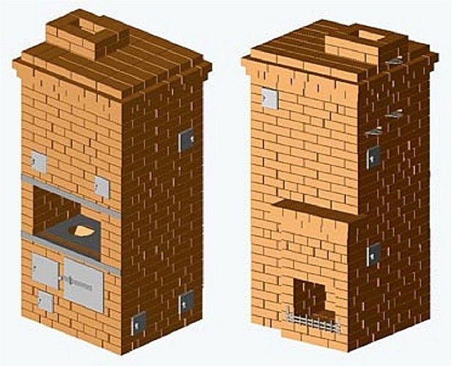 Передняя и задняя стенки печи