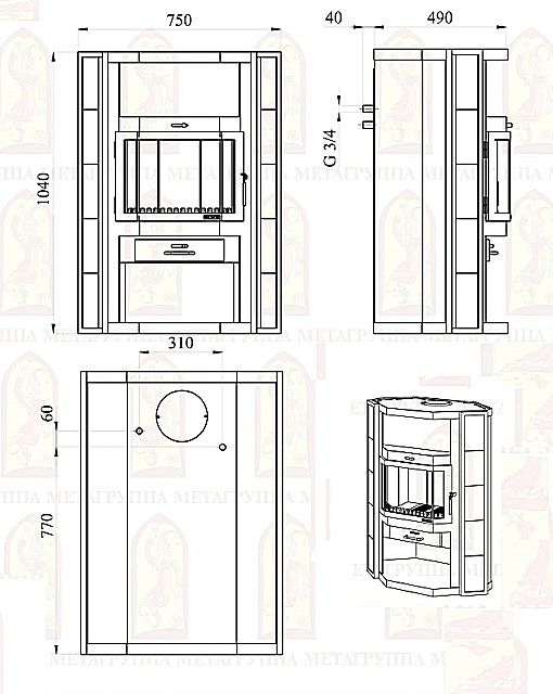 Схема и габариты печи - камина «Печора-Аква»