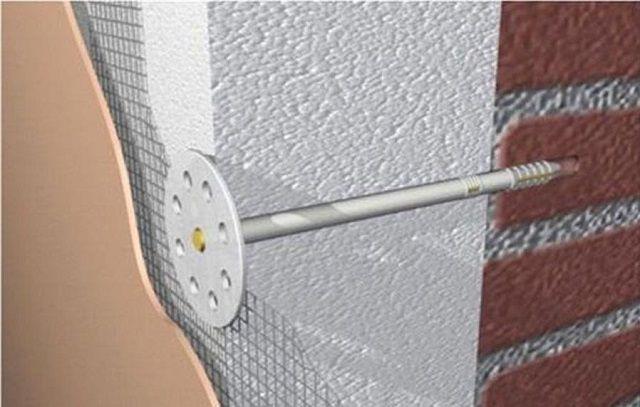 Механическое крепление плиты утеплителя к стене