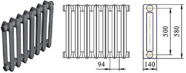 Чертеж радиатора МС-140 М2-500