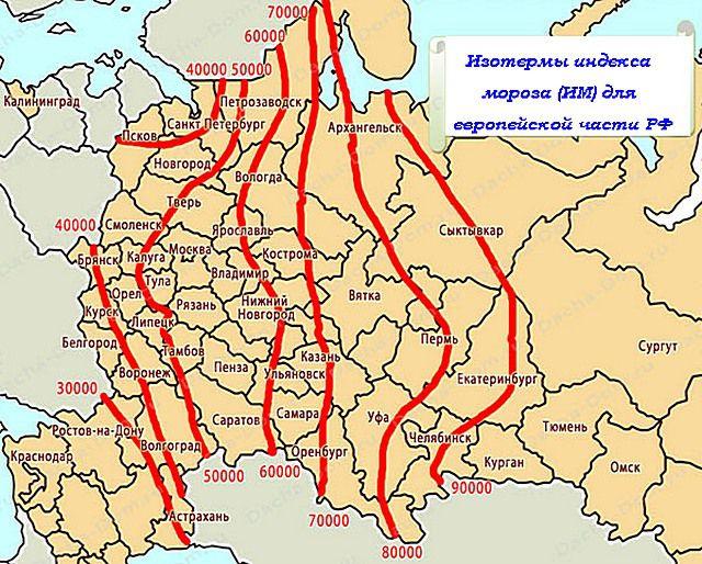 """Карта европейской части РФ с изотермами """"индекса мороза"""""""