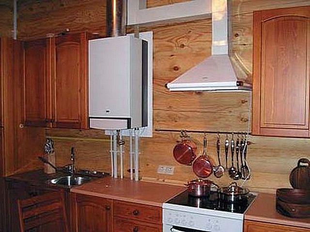 Дизайн кухни с настенным газовым котлом