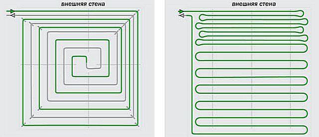 Шаг укладки может изменяться по зонам помещения