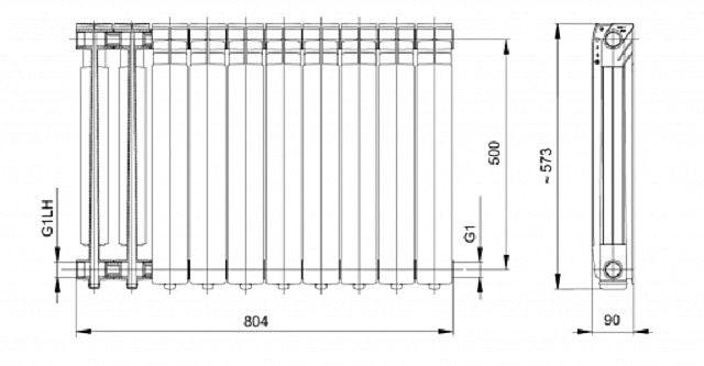 Схема-чертеж наиболее распространенных алюминиевых радиаторов с межосевым расстоянием в 500 мм