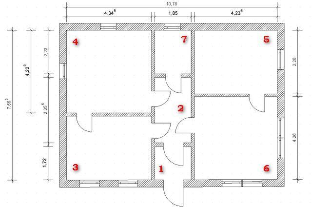 Для примера взят совершенно произвольный план жилого дома