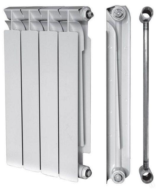 Принцип строения биметаллического радиатора – стальные каналы для циркуляции теплоносителя и внешний алюминиевый корпус для максимально эффективного теплообмена