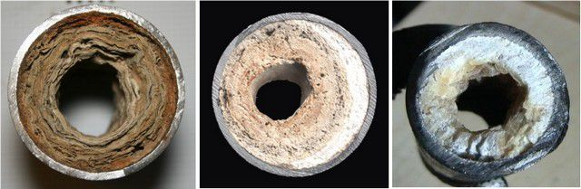 Срезы заросших отложениями труб нередко представляют собой довольно-таки жуткое зрелище