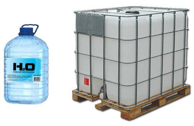 Дистиллированная вода технического качества реализуется и в различной расфасовке, и на разлив – из еврокубов.