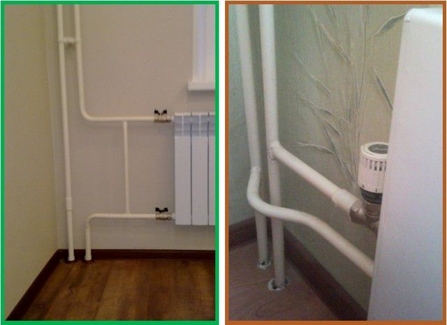 Стояков по два в обоих случаях, а системы отопления – принципиально разные