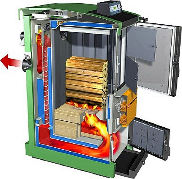 Схема движения потоков газов в котле с нижним расположением камеры дожига пиролизных газов