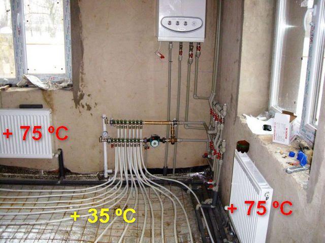 Для радиаторов отопления и для контуров «теплого пола» требуются совершенно разные уровни температур