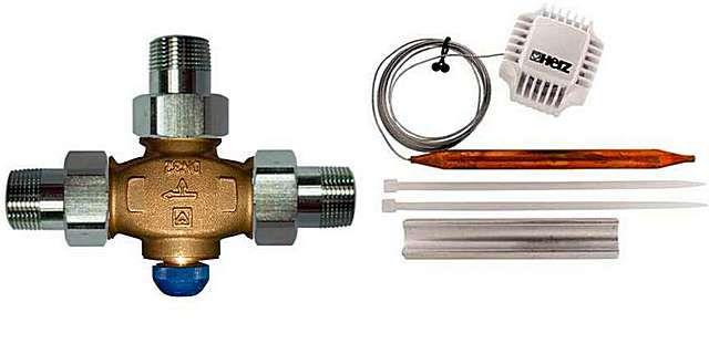 Комплект для размещения в нижней точке байпаса – трехходовой термоклапан разделительного действия (смотри на стрелки)
