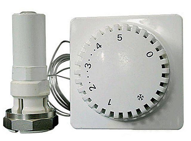 Слева – головка, выполняющая роль привода, справа – связанный с ней капиллярной трубкой выносной пульт управления
