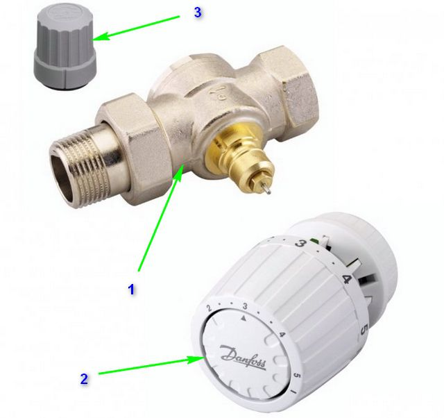 Основные узлы терморегулятора для радиатора отопления