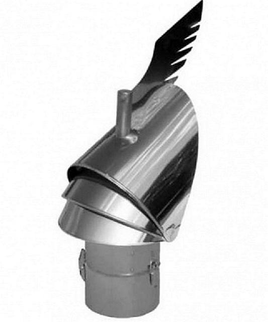 Дефлектор-флюгер, установленный на трубу, поможет нормализовать тягу в печи. Он всегда разворачивает устье трубы так, чтобы ветер не мешал свободному выходу дыма.