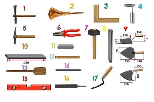 Основные инструменты для кладки печи.