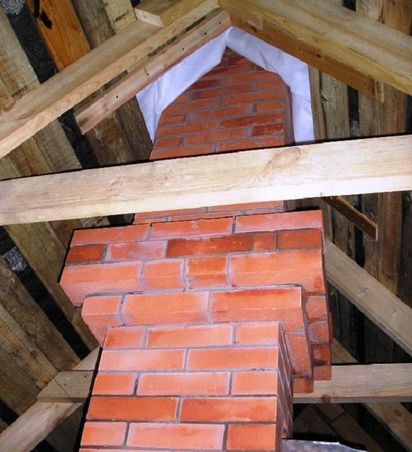 При выборе места установки печи с кирпичным дымоходом сразу рассматривается возможность прохода этой трубы между балками перекрытия и стропилами крыши.
