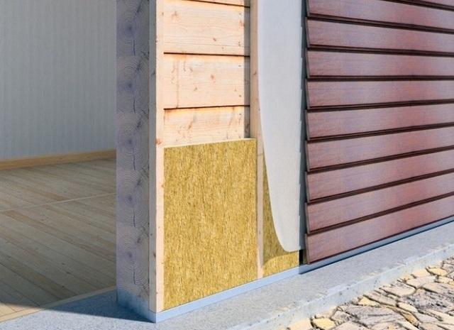 Примерная схема однослойного утепления деревянной стены под обшивку сайдингом.