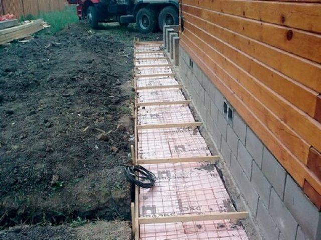 Подготовка к заливке отмосток – уложен утеплитель, армирующая сетка, установлены маяки для выравнивания поверхности под небольшим уклоном от стены