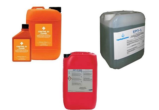 Несколько типов реагентов, предназначенных специально для промывки систем отопления
