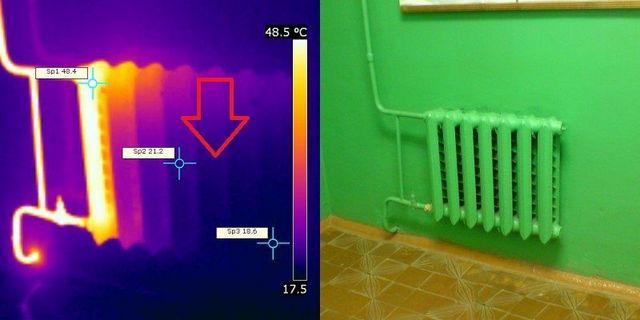С радиатором явно не все в порядке – очень сильная разница в нагреве секций. Скорее всего, полости батареи заросли и требуют промывки.