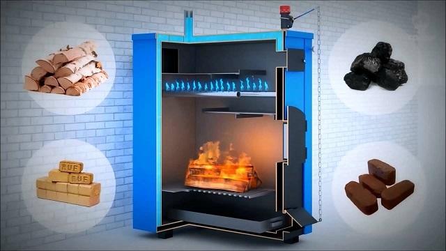Строение одной из моделей твердотопливного котла длительного горения и виды используемого топлива.