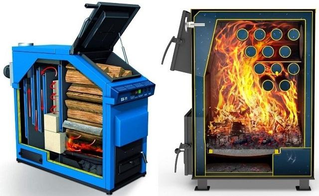 Котлы длительного горения всегда отличаются очень вместительной топливной камерой, которая плотно заполняется дровами «под завязку»