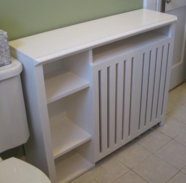 Этот вариант закрытия батареи показывает, может быть, хорошую функциональность, как предмет мебели. Но ждать адекватной теплоотдачи от скрытого им радиатора – вряд ли приходится.