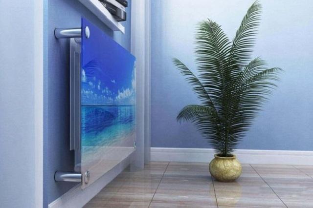 Стеклянная панель смотрится на стене элегантно и становится арт-объектом интерьера.