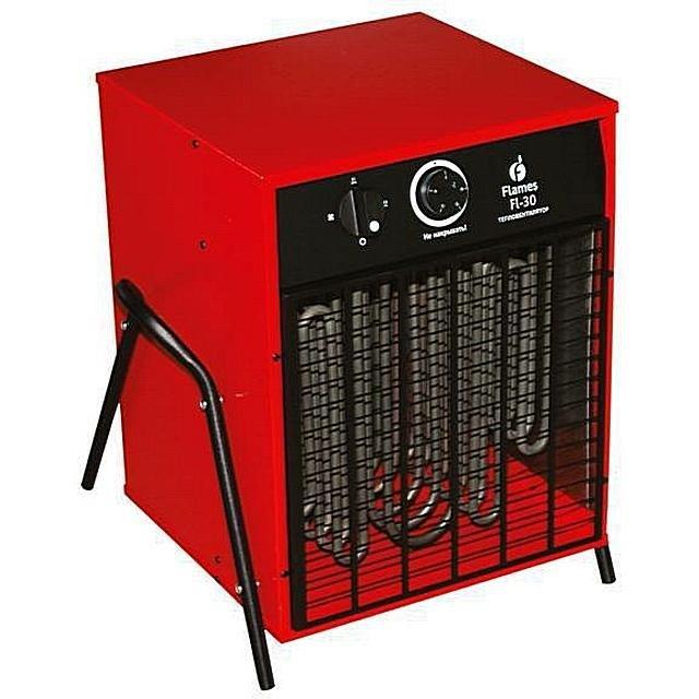 Тепловентилятор с трубчатыми нагревательными элементами (ТЭНами).