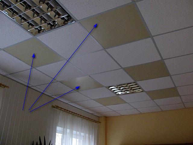 Инфракрасные панели, встроенные в подвесной потолок.