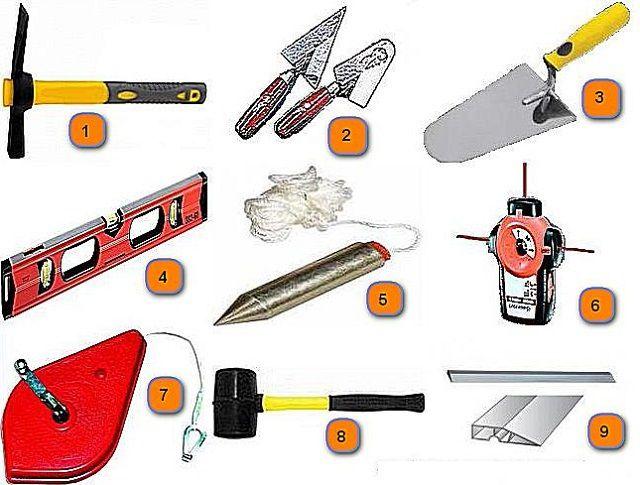 Инструменты, необходимые для возведения камина