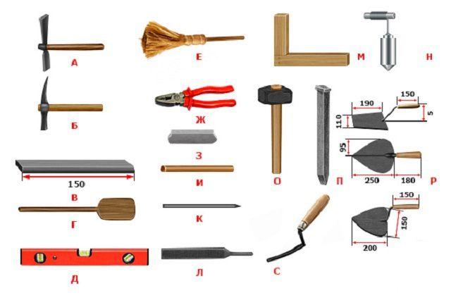 Стандартный набор инструментов мастера-печника
