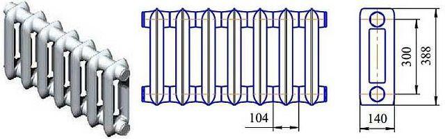 Чертеж радиатора МС-140-300