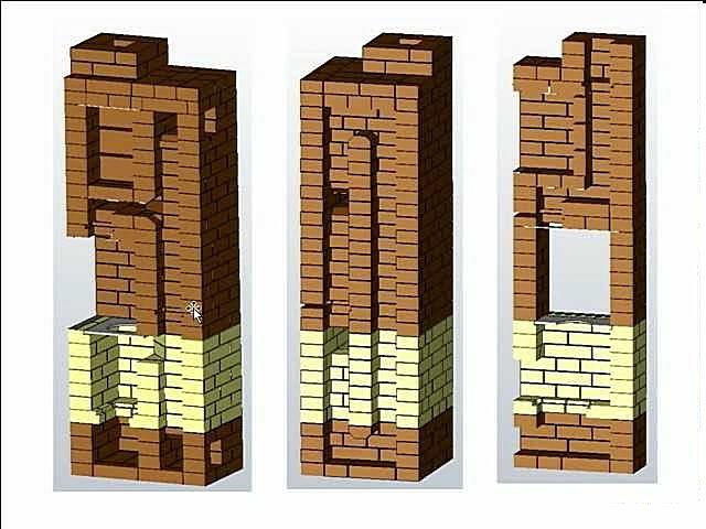 Разрезы хорошо показывают конфигурацию внутренних каналов печи