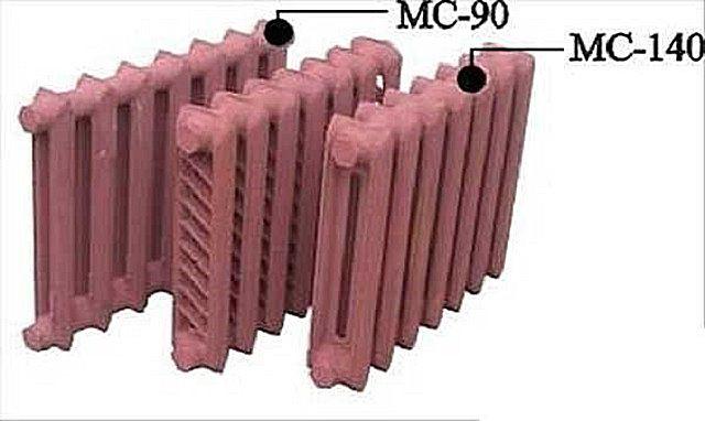 Радиаторы МС-140 с оребрением  и без него, и, для сравнения, радиатор МС-90