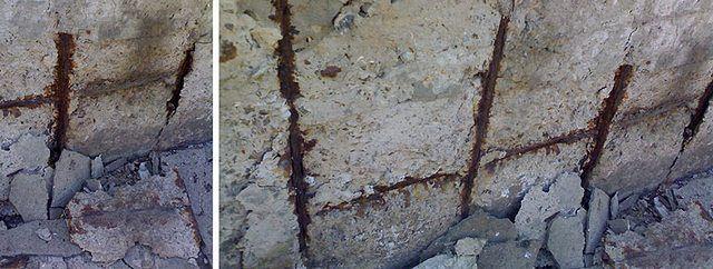 Проникновение влаги в бетон влечет коррозию арматурного пояса