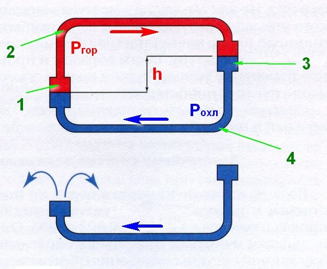 Принцип действия естественной циркуляции теплоносителя