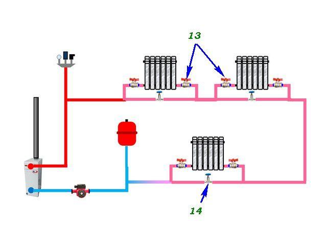 Модернизированная схема - с кранами и регулировочными вентилями