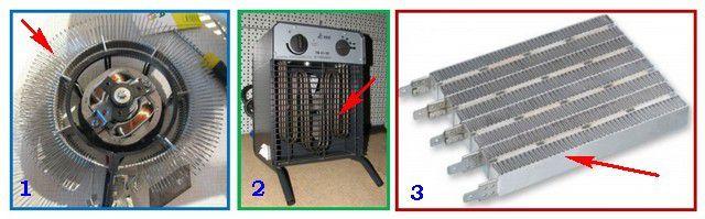 Различные типы нагревательных элементов