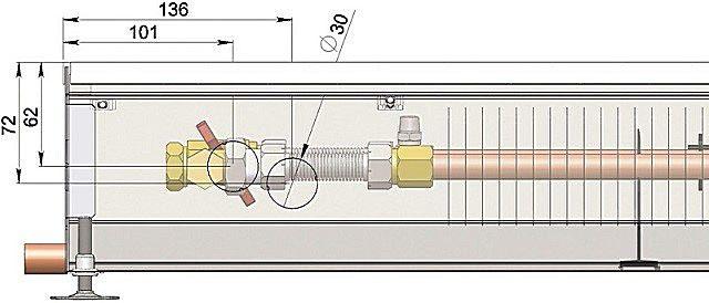 В технической документации конвектора должна быть указана схема соединительного узла прибора