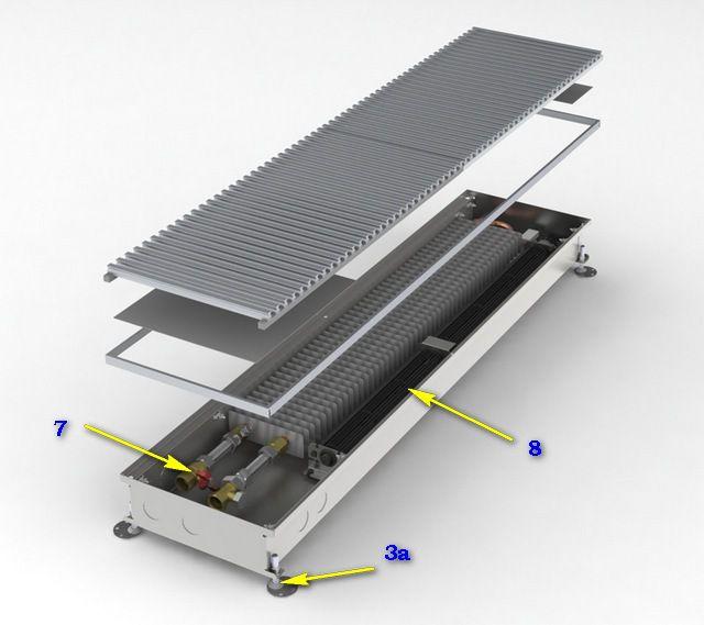 Конвектор со встроенным вентилятором и регулируемыми винтовыми ножками