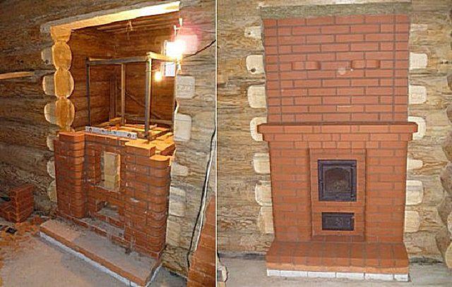 Кирпичную печь при желании можно встроить в межкомнатную стену