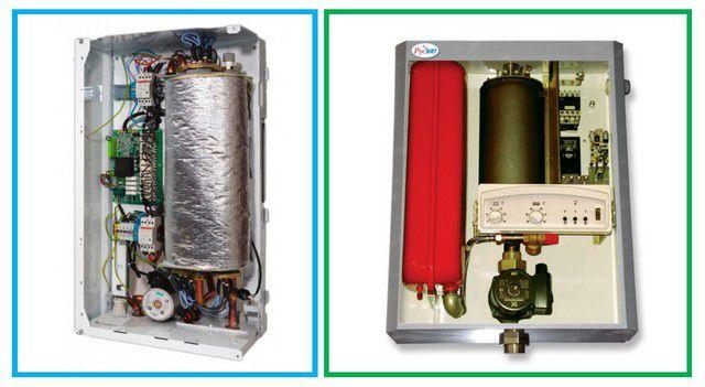 Модели могут иметь встроенный насос (слева), а иногда - еще и встроенный расширительный бак (справа)