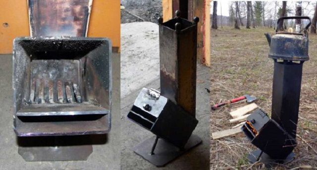 Металлическая печь-ракета в нескольких ракурсах