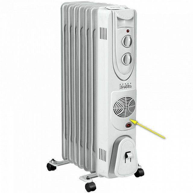 Нередко в масляный радиатор встраивается еще и тепловой вентилятор