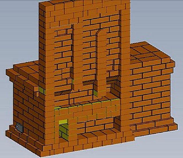 Разрез, на котором хорошо видны дымоходные внутренние каналы сооружения, проходящие по задней стенке печи.
