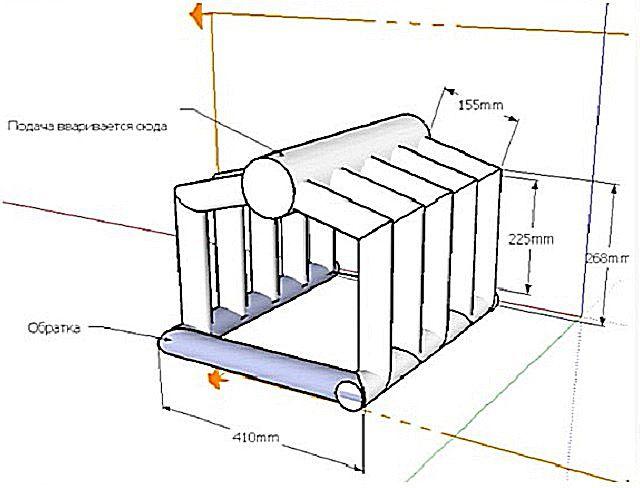 Чертеж одного из видов теплообменника, устанавливаемого непосредственно в топочную камеру