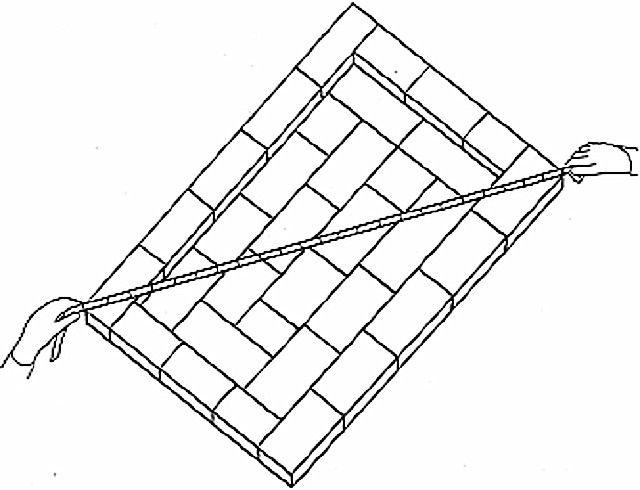 Проверка диагоналей первого ряда печи